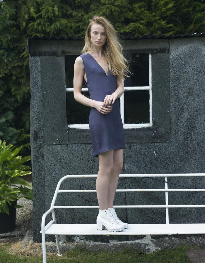 Zoe Carol Womenswear japanese triacetate blue grey v neck dress