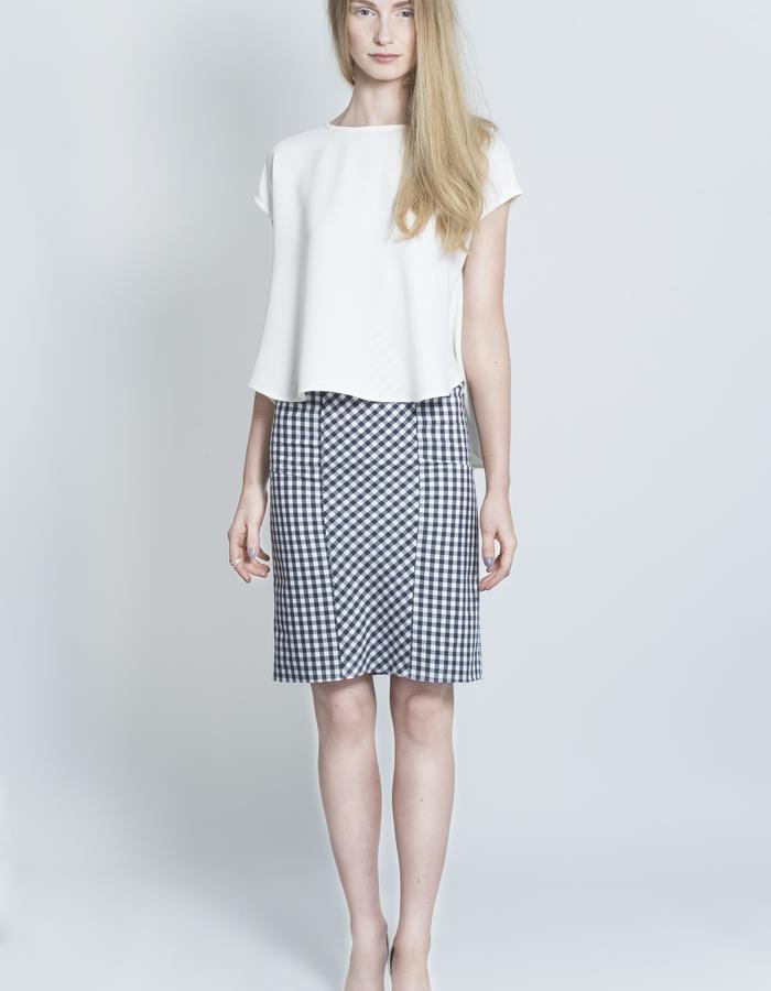 Zoe Carol Womenswear white crepe drape back top and organic cotton gingham check pencil skirt