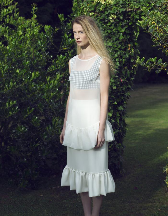 Zoe Carol Womenswear white crepe ruffle skirt and white sheer ruffle top and organic cotton gingham check crop bra top
