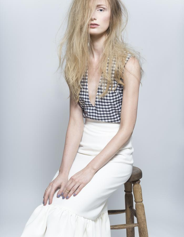 Zoe Carol Womenswear white crepe ruffle skirt and organic cotton gingham check v neck top