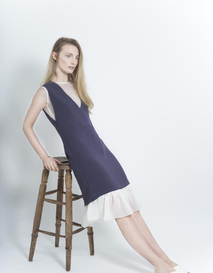 Zoe Carol Womenswear white sheer ruffle dress and japanese triacetate blue grey v neck dress