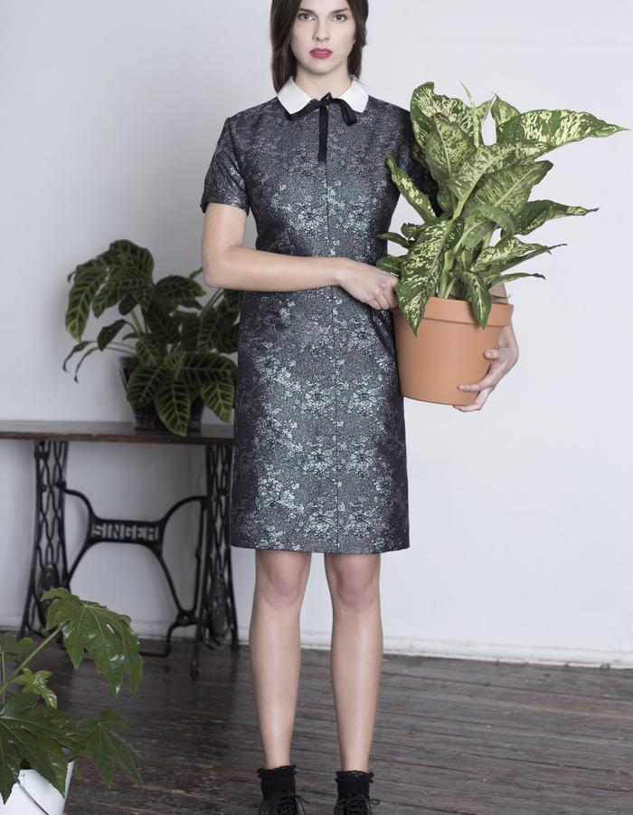 Zoe Carol Womenswear silk mix brocade dress with white silk collar and ribbon tie