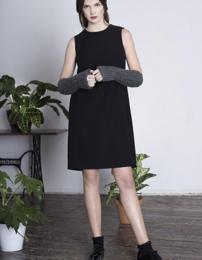 Zoe Carol Womenswear black crepe Drape cape dress and wool handknit armwarmers