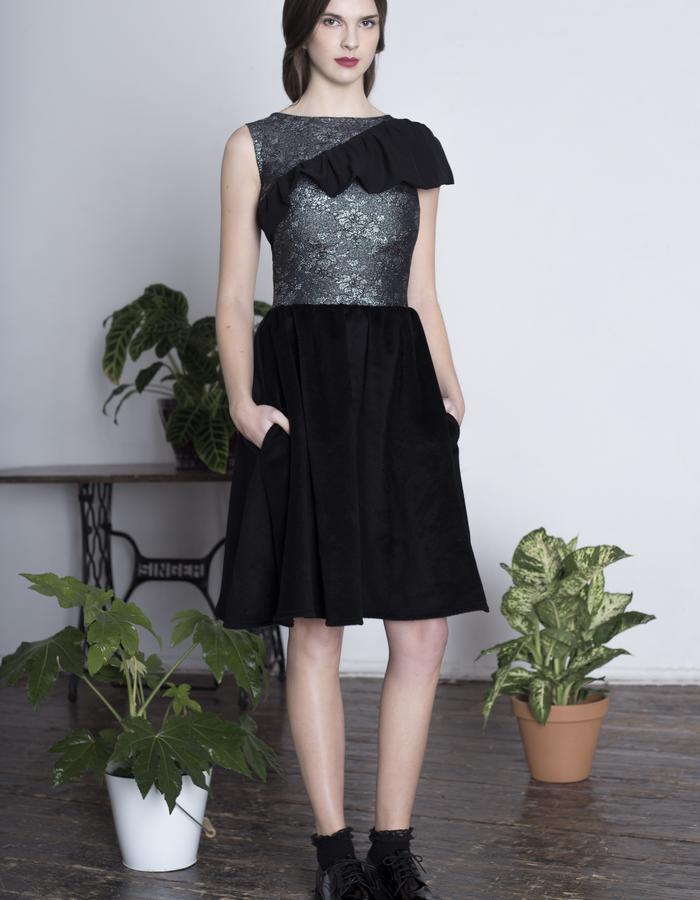 Zoe Carol Womenswear black wool skirt brocade and silk dress