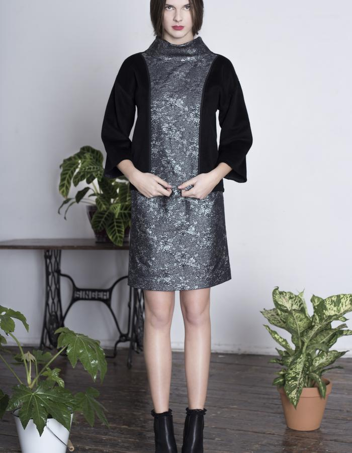 Zoe Carol Womenswear black wool brocade roll neck sweater and silk mix brocade skirt