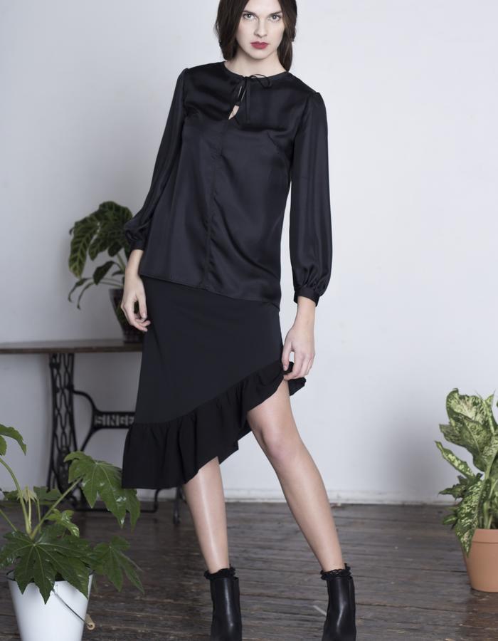 Zoe Carol Womenswear black wool asymmetric ruffle hem skirt and tie neck black silk blouse