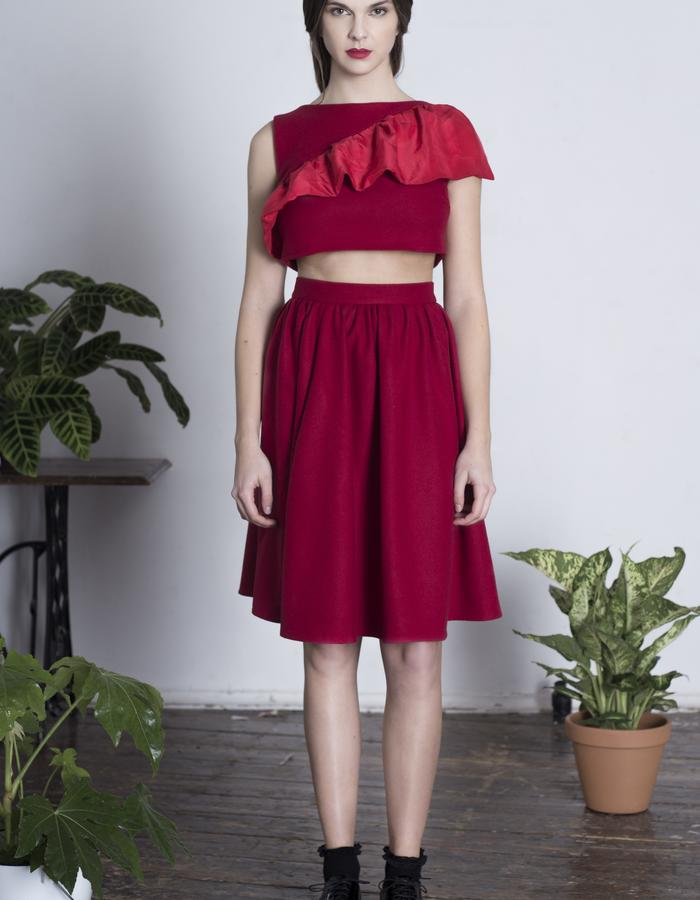Zoe Carol Womenswear red wool skirt with pockets and red wool and silk sleeveless crop top
