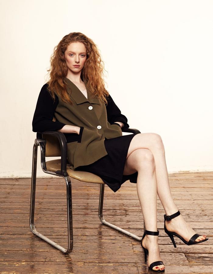 Zoe Carol Womenswear olive green and black crepe blazer jacket