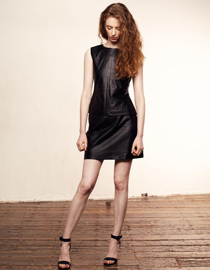 Zoe Carol Womenswear black vegan leather sleeveless top and skirt