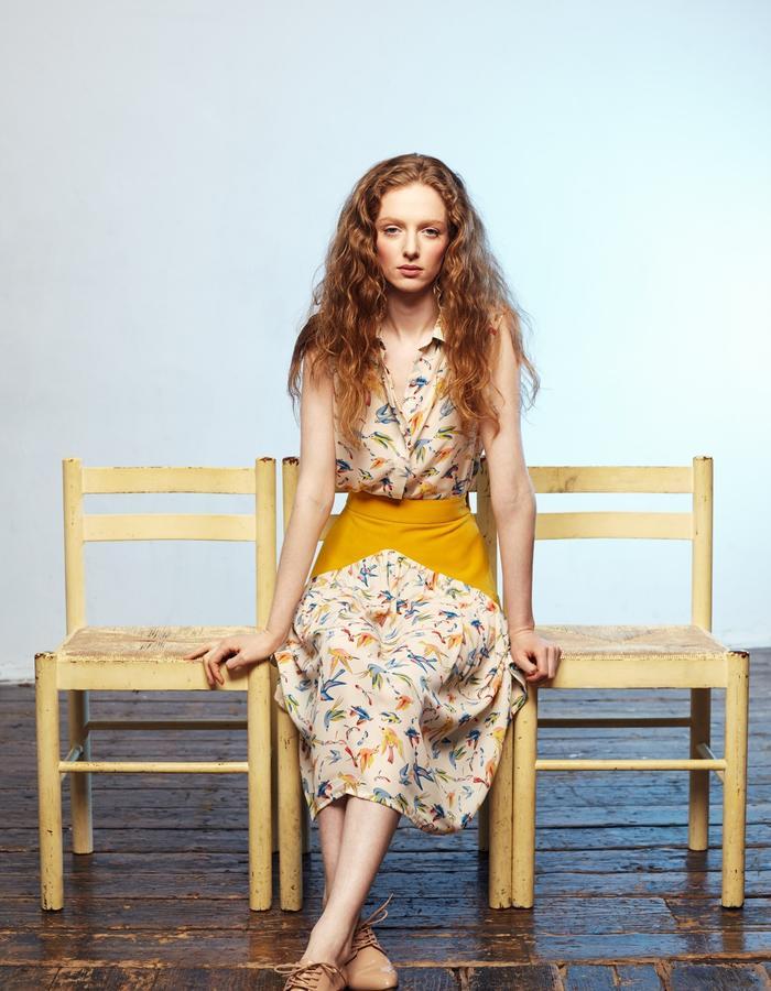 Zoe Carol Womenswear print blouse and yellow crepe and print skirt