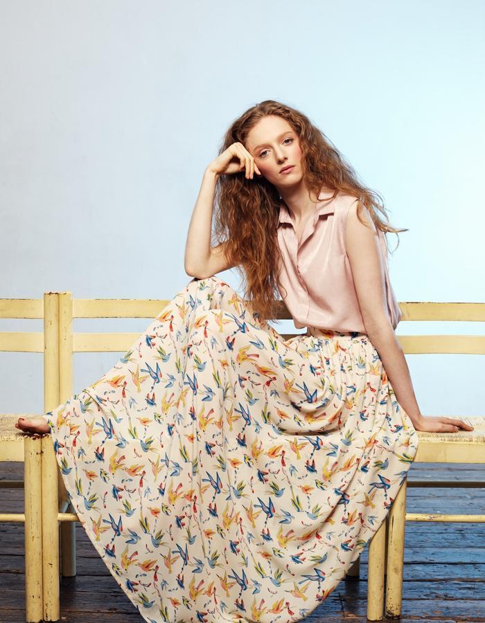 Zoe Carol Womenswear blush pink sleeveless blouse and and print skirt
