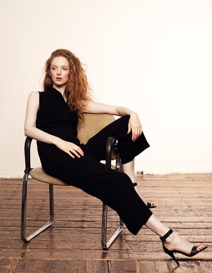 Zoe Carol Womenswear black crepe tuxedo jumpsuit trouser pants