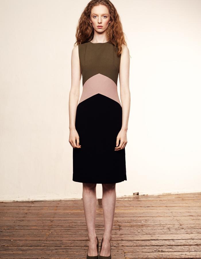 Zoe Carol Womenswear olive green, blush pink and black crepe colour block dress