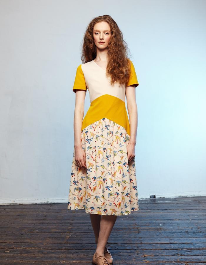 Zoe Carol Womenswear print and yellow crepe dress