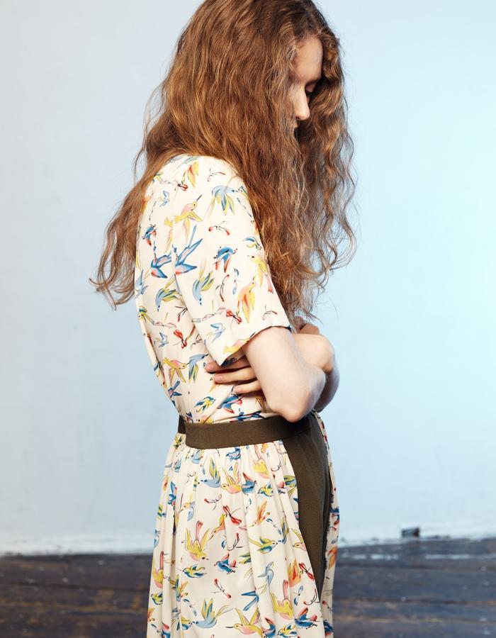 Zoe Carol Womenswear print short sleeve blouse and olive green crepe and print shorts