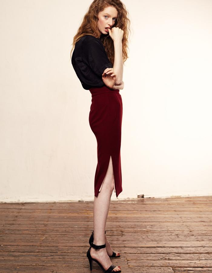 Zoe Carol Womenswear silk cotton mix black button back short sleeve blouse and red crepe pencil skirt