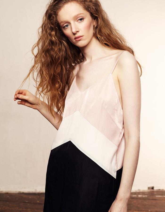Zoe Carol Womenswear blush pink white and black silk and cotton slip dress