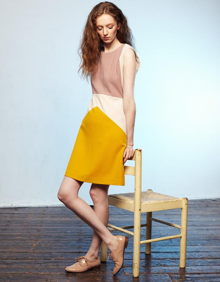 Zoe Carol Womenswear cream blush pink and yellow crepe sleeveless a line dress