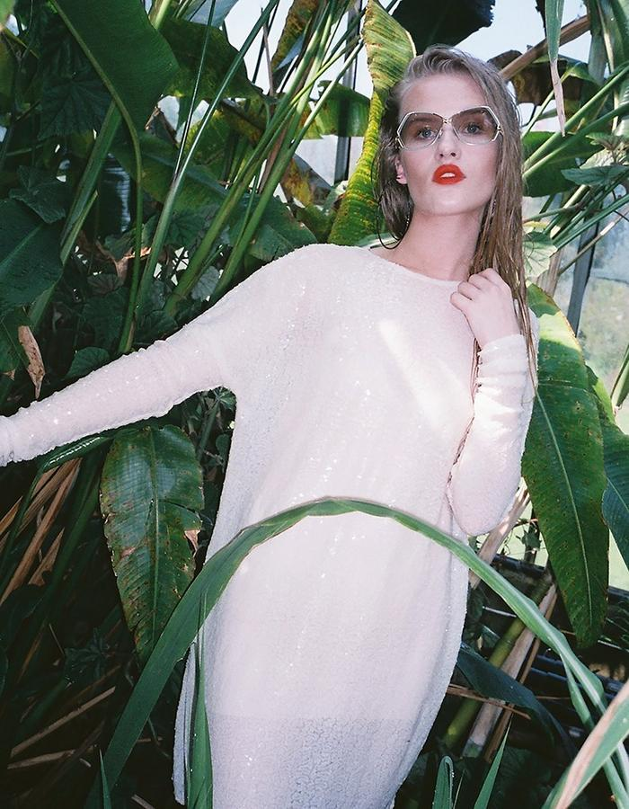 H.S Tropicanamania Ivory Sequin Long Sleeved Dress