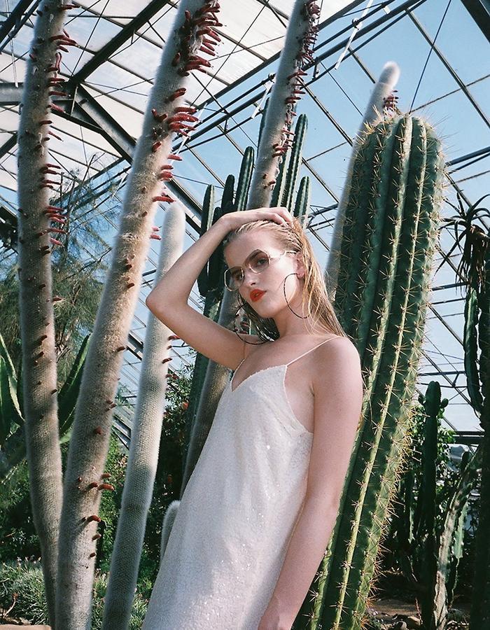 H.S Tropicanamania Ivory Sequin Slip Dress