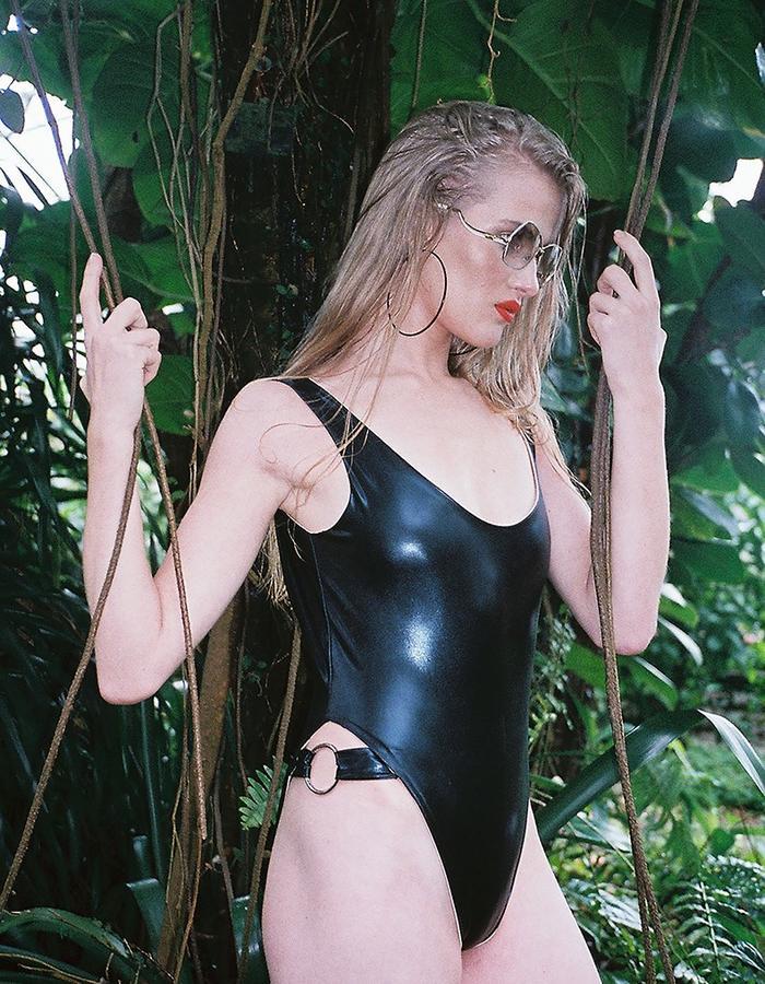 Panthera Hi-Cut Swimsuit with Metal Ring Detail
