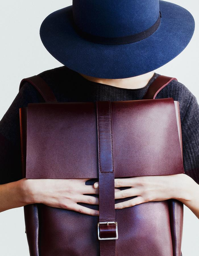 erikahoc Solid Marsala Leather Backpack AW15