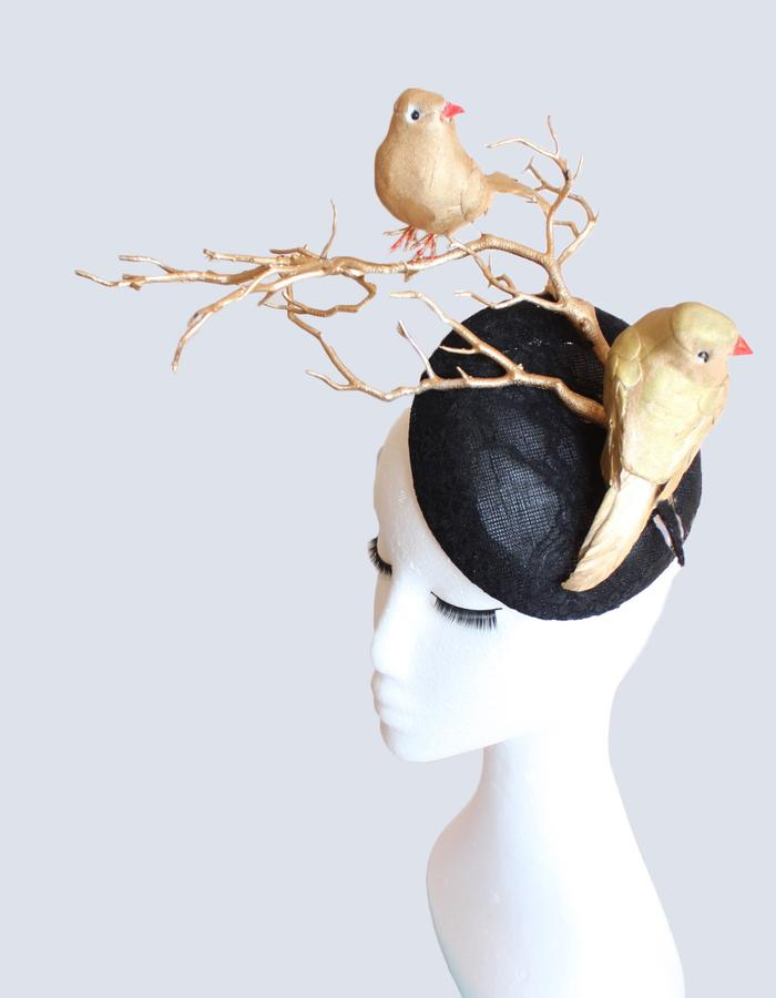Gold and Black Birds Hat