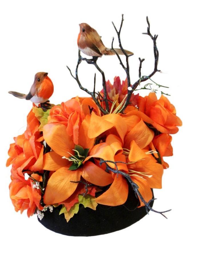 Orange and Black Birds Hat