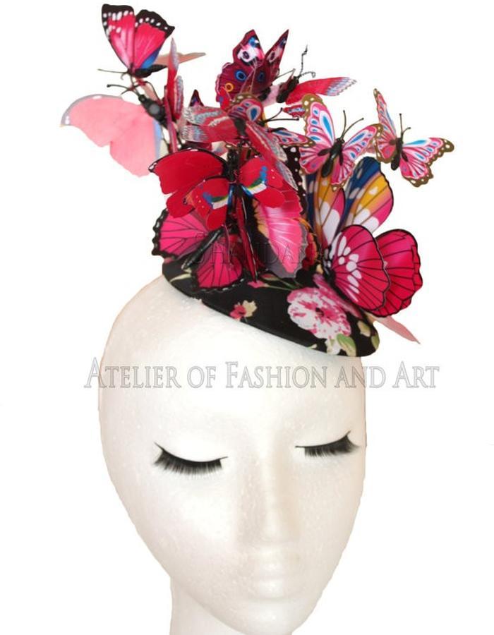 Fuscia Butterfly Hat