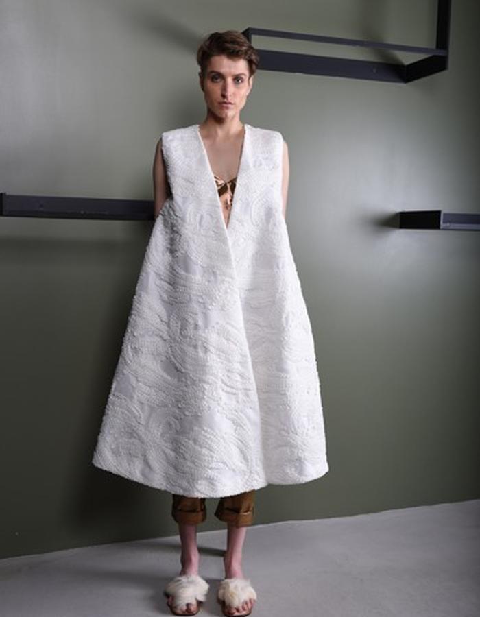 Tweed on tulle flared coat