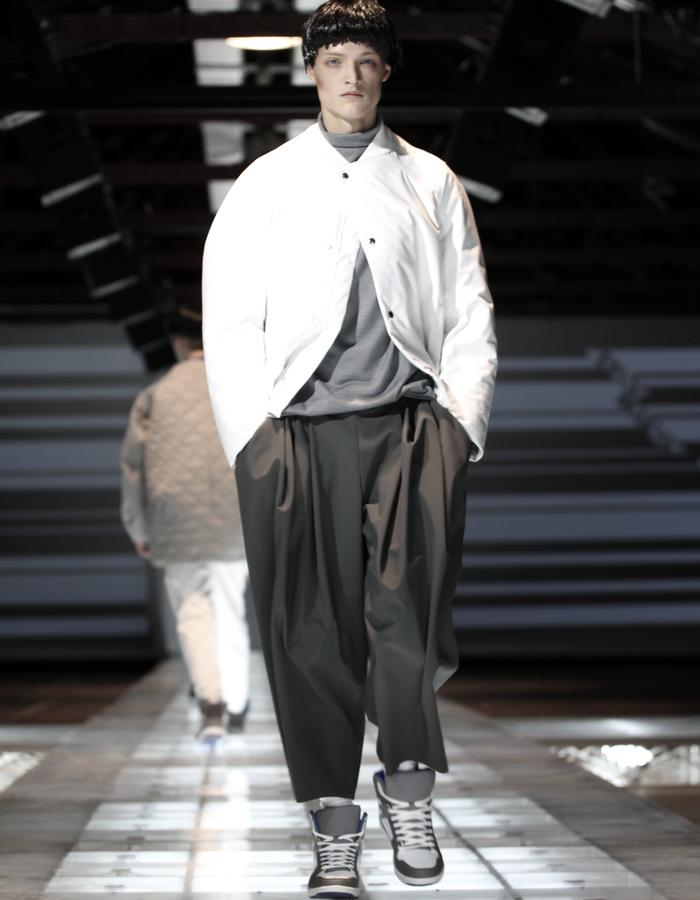 padded bomber/ pleated trousers