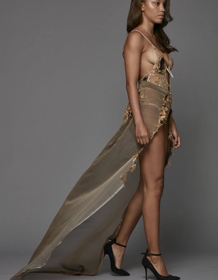 CÉLINE MARIE - Collection Redécouverte Sheer V-Bridge Body and Skirt