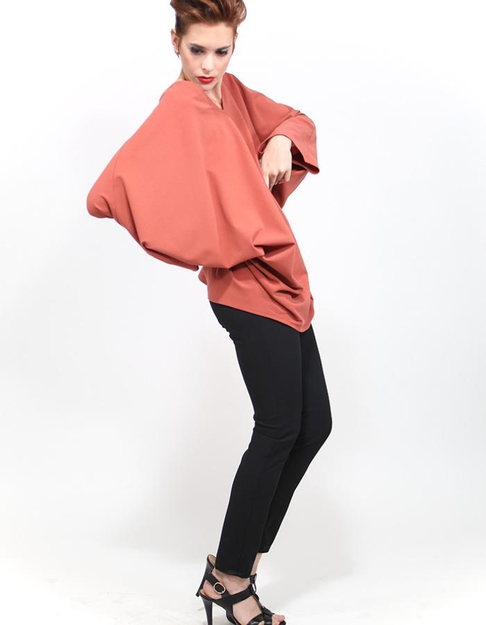 Coral crepe wool tunic.