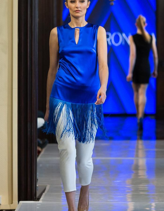 silk cobalt blouse with fringles