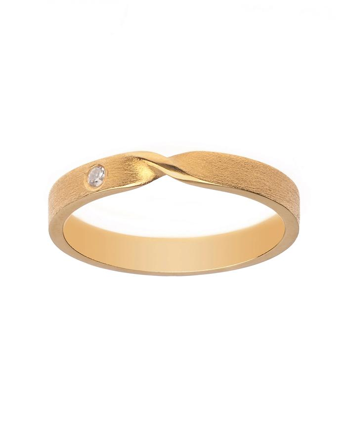 Minimal bow style ring in silver with 24K gold plate