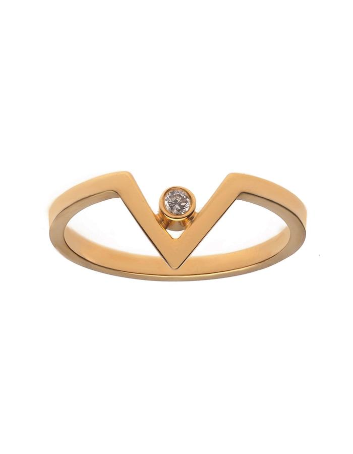 Gold plated chevron ring in gold plate