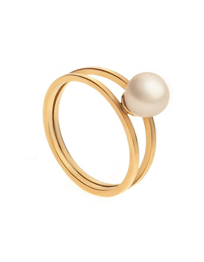 24K Gold plated minimal ring in silver with freshwater pearl