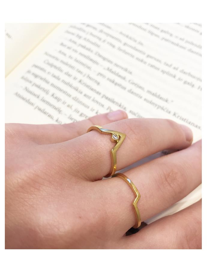 Chevron ring minimal in Silver and 24K Gold plate