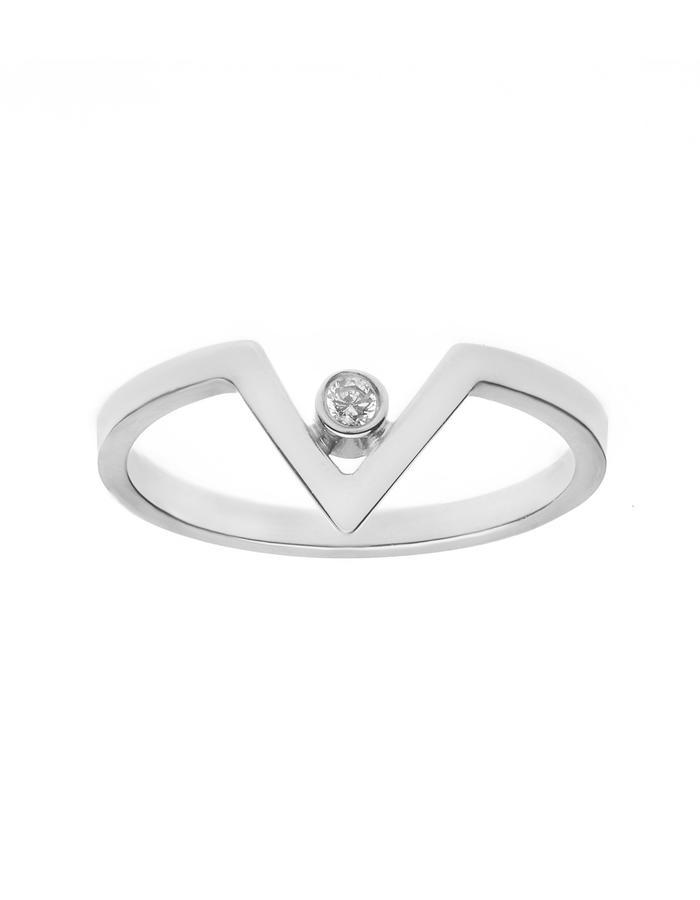 Chevron silver ring minimal stackable