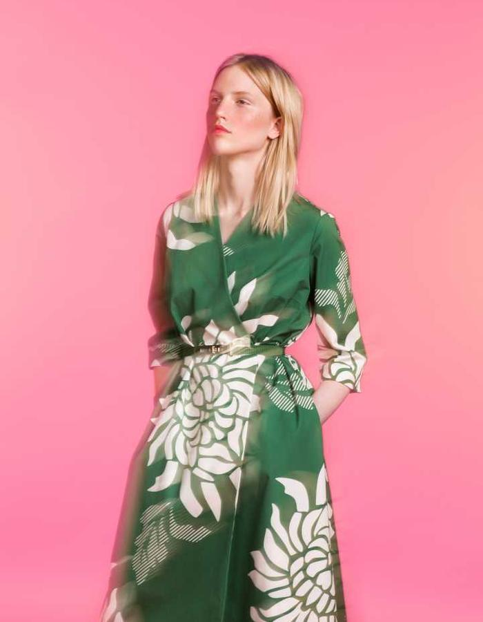 Longing For Sleep by Marit Ilison 2016 Collection II Green Cotton Smock Dress