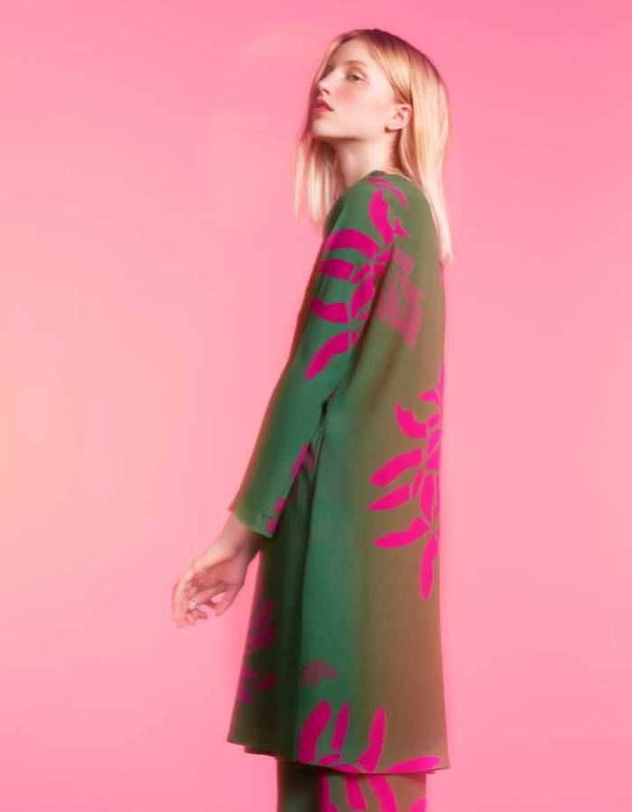Longing For Sleep by Marit Ilison 2016 Collection II Green Viscose Short A-Line Dress and Pyjama Trousers