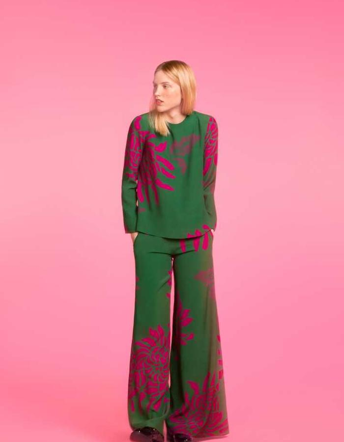 Longing For Sleep by Marit Ilison 2016 Collection II Green Viscose Pyjama Blouse and Trousers