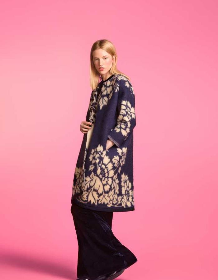Longing For Sleep by Marit Ilison 2016 Collection II Medieval Blue Embellished Classic Coat and Navy Velvet Pyjama Blouse and Trousers