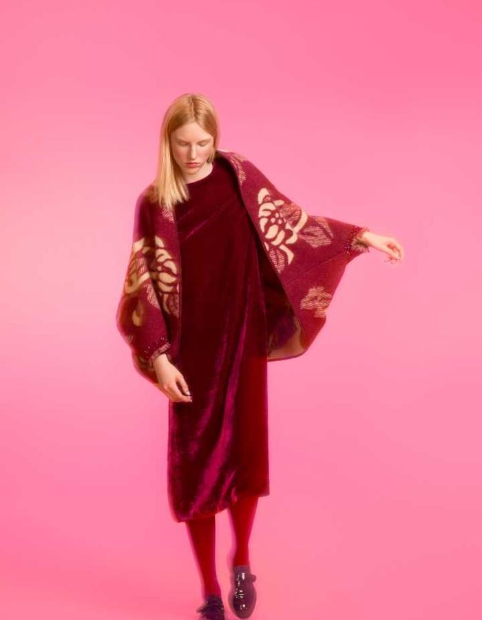Longing For Sleep by Marit Ilison 2016 Collection II Cordovan Cape and Bordeaux Velvet A-Line Dress