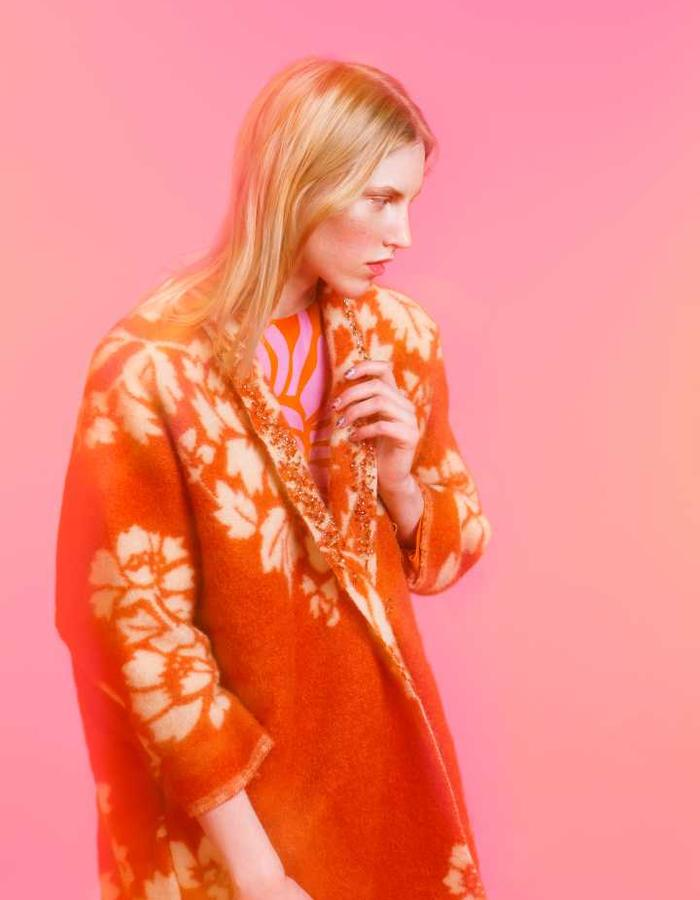 Longing For Sleep by Marit Ilison 2016 Collection II Orange Lapel Embellished Revere Coat and Back Buttoned Dahlia Dress