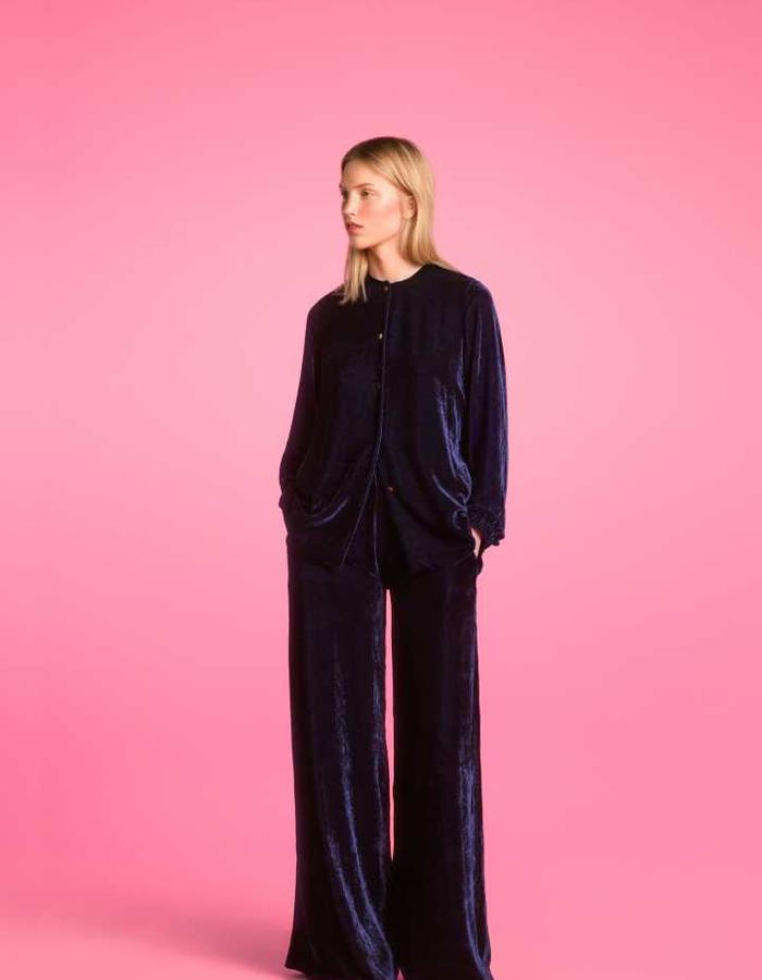 Longing For Sleep by Marit Ilison 2016 Collection II Navy Velvet Pyjama Blouse and Trousers