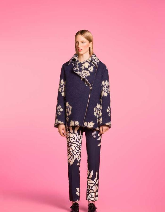 Longing For Sleep by Marit Ilison 2016 Collection II Medieval Blue Long Biker Jacket and Navy Pencil Trousers