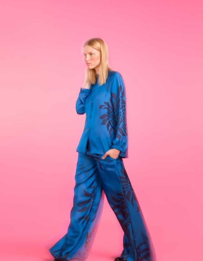 Longing For Sleep by Marit Ilison 2016 Collection II Imperial Blue Silk Pyjama Blouse and Trousers