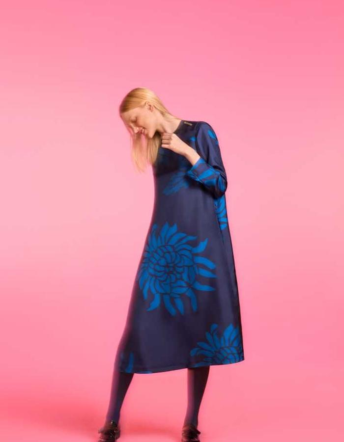 Longing For Sleep by Marit Ilison 2016 Collection II Navy Silk A-Line Dress