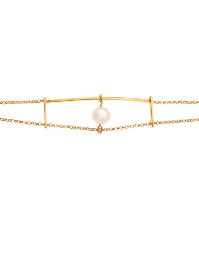 Minimal Gold plated chain bracelet with pearl